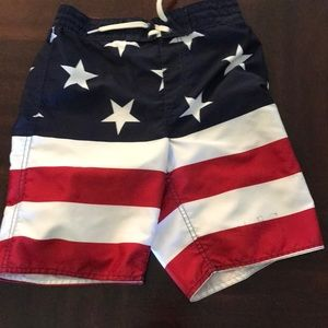 Boys Old Navy Flag design swim trunks L 10-12